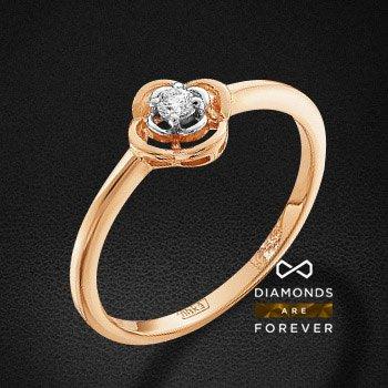Кольцо с бриллиантами из красного золота 585 пробыКольца<br>Кольцо с бриллиантами из красного золота 585 пробы. Характеристики вставок: 1 бриллиант кр 57 25-20 3/6а 2.25 0.047ct.. Средний вес изделия: 1.78 гр.<br>
