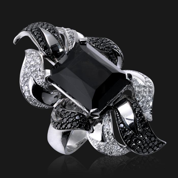 Купить Кольцо с морионом, белыми и черными бриллиантами в белом золоте 585 пробы