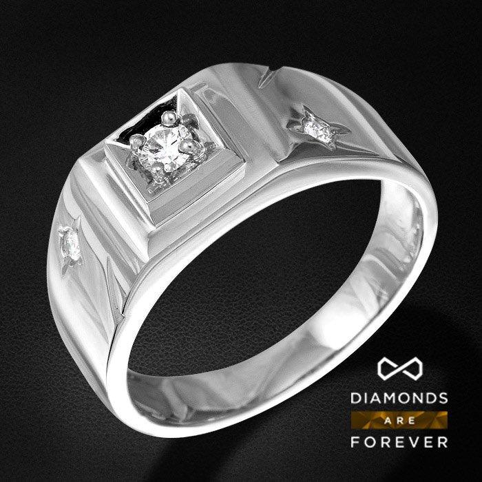 Каст без центрального камня, мужское кольцо с 2 бриллиантами из белого золота 585 пробыДля мужчин<br>Каст без центрального камня, мужское кольцо с 2 бриллиантами из белого золота 585 пробы. Характеристики вставок: 2Бр Кр-57 0.04 3/5А. Средний вес: 5,61 гр.<br>