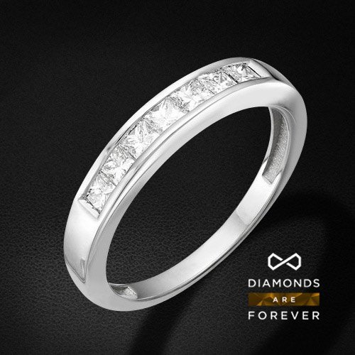 Купить Кольцо дорожка с бриллиантами из белого золота 585 пробы