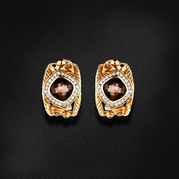 Купить Серьги с раухтопазом, бриллиантами, кварцем, цитрином из желтого золота 585 пробы