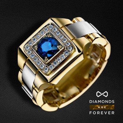 Перстень мужской с сапфиром и бриллиантами из комбинированного золота 750 пробы (арт. 22122)