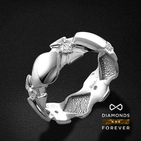 Обручальное кольцо с бриллиантами из белого золота 585 пробыОбручальные кольца<br>Обручальное кольцо с бриллиантами из белого золота 585 пробы. Характеристики вставок: 5 бриллиант кр57 0.33. Средний вес изделия: 2.96 гр.<br>