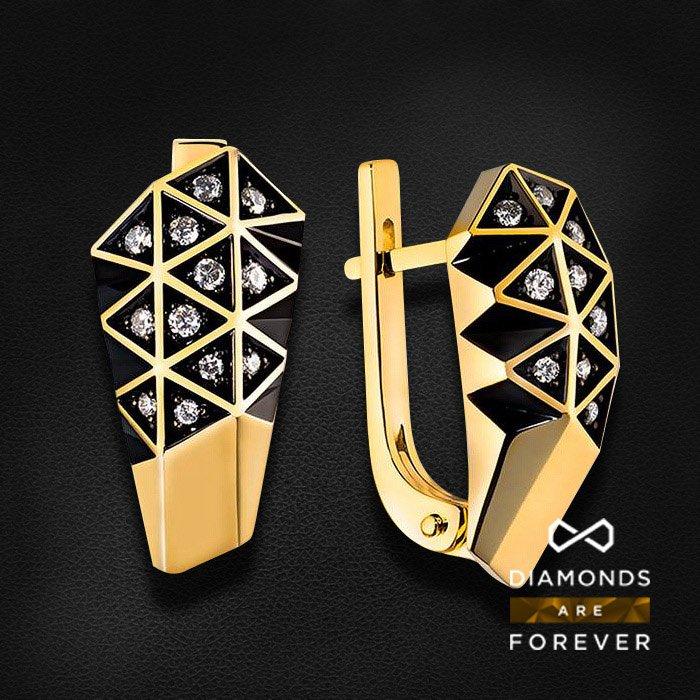 Серьги с бриллиантами в желтом золотеСерьги с бриллиантами<br>Серьги с бриллиантами в желтом золоте 585 пробы. Характеристики: 24 бриллиант 0.226. Средний вес: 5.9 гр.<br>
