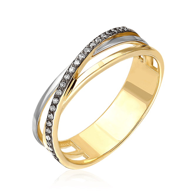 Купить Кольцо дорожка с бриллиантами в желтом золоте 585 пробы