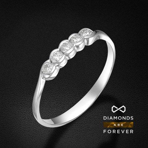 Кольцо с бриллиантами из белого золота 585 пробыКольца<br>Кольцо с бриллиантами из белого золота 585 пробы. Характеристики вставок: бриллиант 5 0.232 3/5 круг. Средний вес изделия: 1,36 гр.<br>