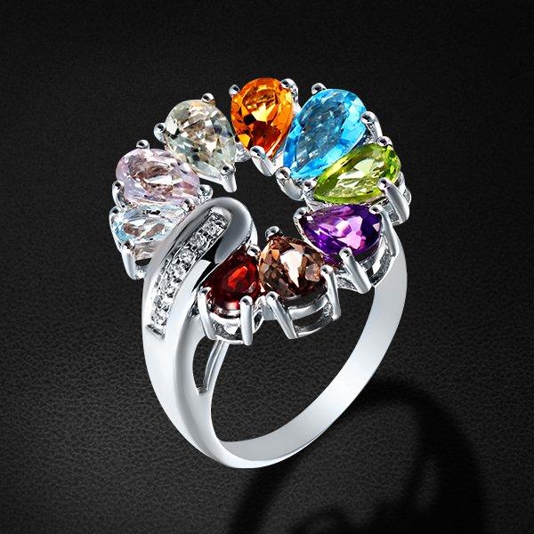 Купить Кольцо с топазом, гранатом, бриллиантами, аметистом, цитрином, перламутром из белого золота 585 пробы