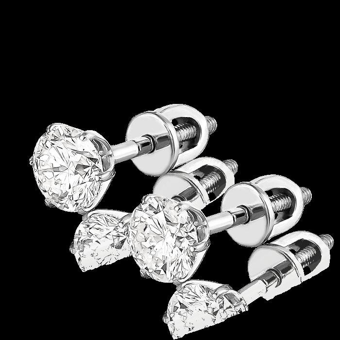 Купить Пусеты с бриллиантами в белом золоте 585 пробы