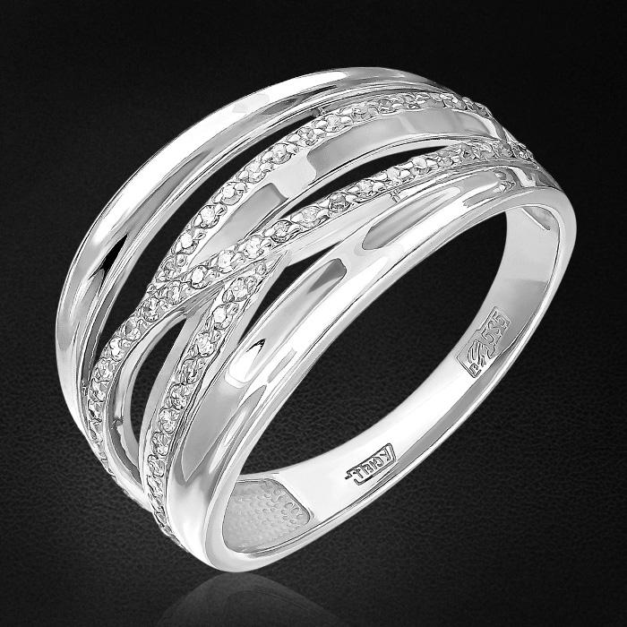 Кольцо с бриллиантами из белого золота 585 пробыКольца<br>Кольцо с бриллиантами из белого золота 585 пробы. Характеристики вставок: 55 бриллиант кр17 0,146 2/2а. Средний вес изделия: 4,08 гр.<br>