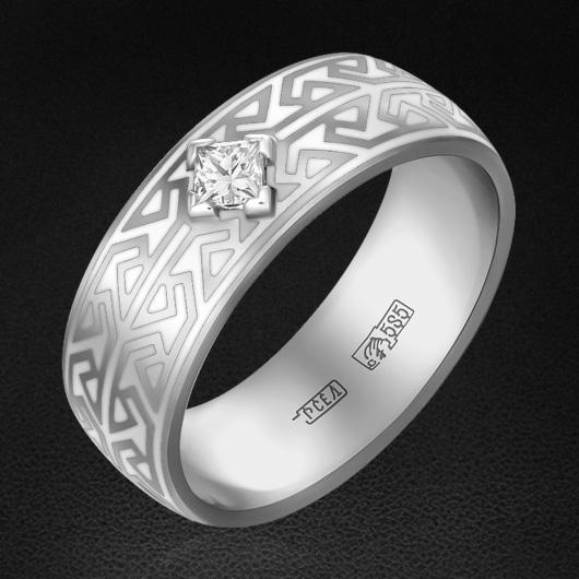 Кольцо с бриллиантами из белого золота 585 пробыКольца<br>Кольцо с бриллиантами из белого золота 585 пробы. Характеристики вставок: 1 бриллиант огранки принцесса (п65) 0,10 3/3; натуральная керамика белая.<br>