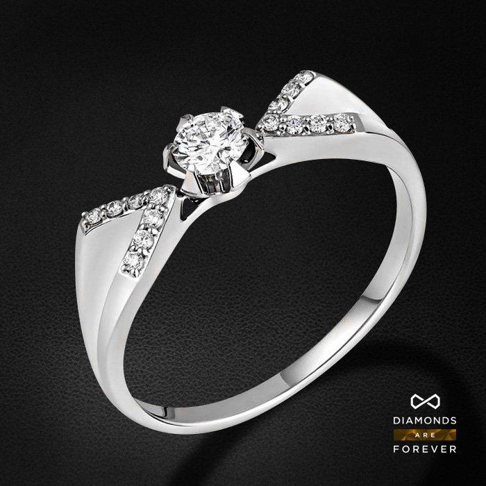 Кольцо с бриллиантами из белого золота 585 пробыКольца<br>Кольцо с бриллиантами из белого золота 585 пробы. Характеристики вставок: 15 бриллиант 0,259. Средний вес изделия: 2.69 гр.<br>