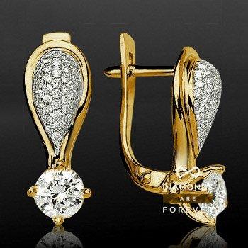 Серьги с бриллиантами Слова не нужныСерьги<br>Серьги из желтого золота 750 пробы, украшенные 116 бриллиантами общим весом 1.433 карат<br>
