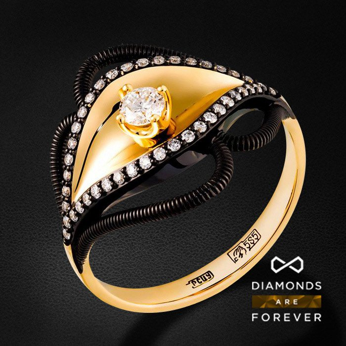 Кольцо с бриллиантами в желтом золотеКольца с бриллиантами<br>Кольцо с бриллиантами в желтом золоте 585 пробы. Характеристики: 43 бриллиант 0.31. Средний вес: 3.69 гр.<br>