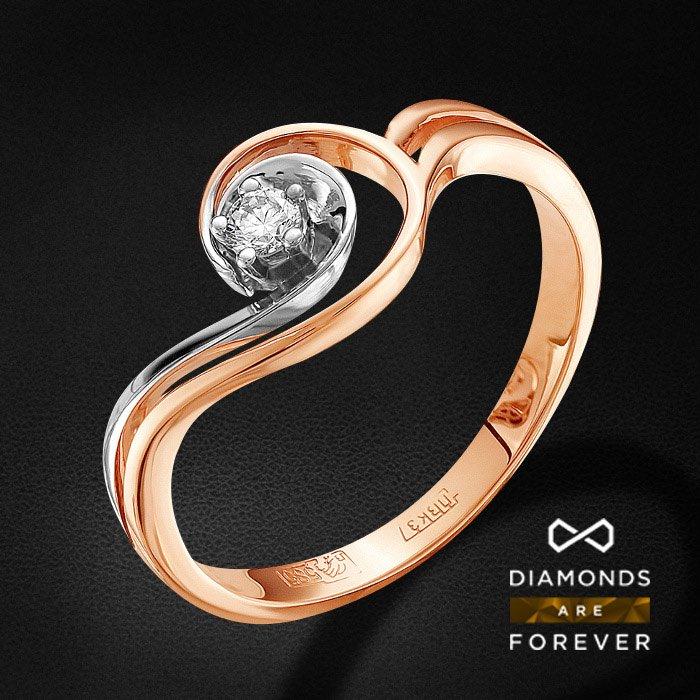 Кольцо с бриллиантами из красного золота 585 пробыКольца<br>Кольцо с бриллиантами из красного золота 585 пробы. Характеристики вставок: 1 бриллиант кр 57 3/5а 0.055ct.. Средний вес изделия: 2.45 гр.<br>