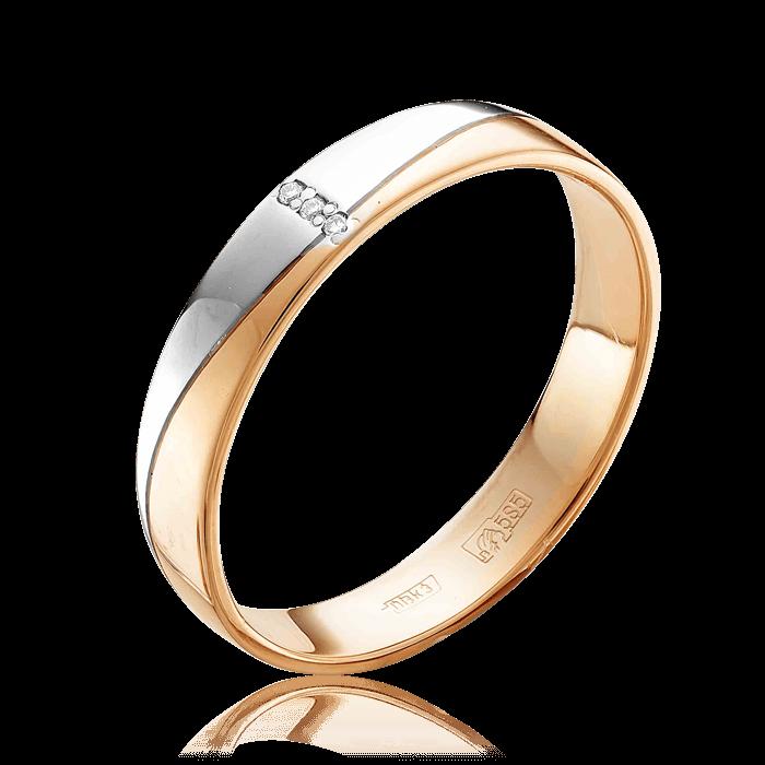 Купить Обручальное кольцо с бриллиантами из красного и белого золота 585 пробы