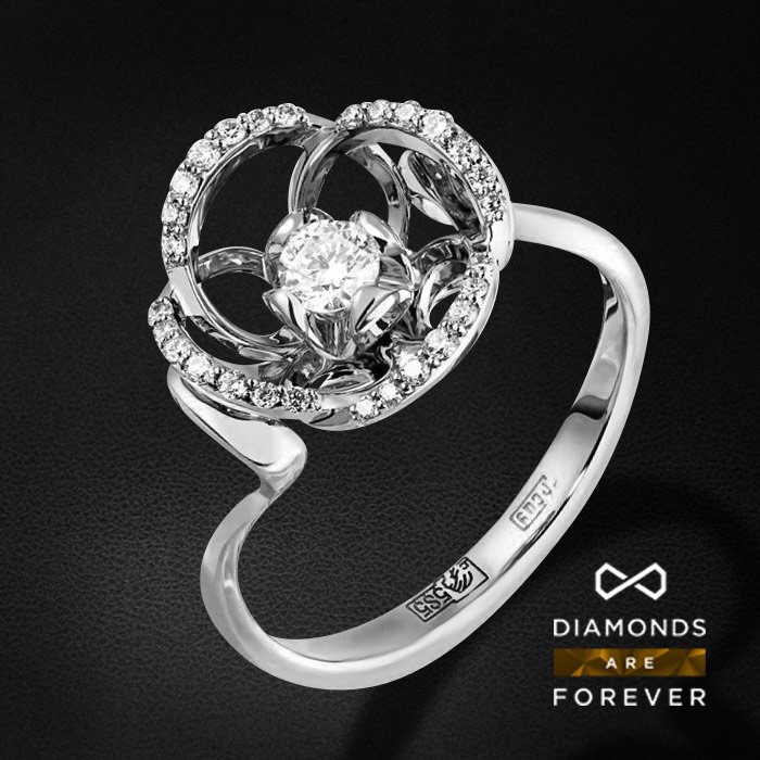 Кольцо с бриллиантами в белом золотеКольца с бриллиантами<br>Кольцо с бриллиантами в белом золоте 585 пробы. Характеристики: 29 бриллиант 0.262. Средний вес: 3.33 гр.<br>