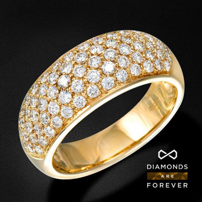 Кольцо россыпь с бриллиантами из желтого золота 585 пробыЮвелирные украшения<br>Кольцо россыпь с бриллиантами из желтого золота 585 пробы. Характеристики вставок: 69Бр Кр-57 1.103/5 А. Средний вес: 6,5 гр.<br>