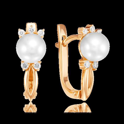 Купить Серьги с жемчугом, бриллиантами из красного золота 585 пробы