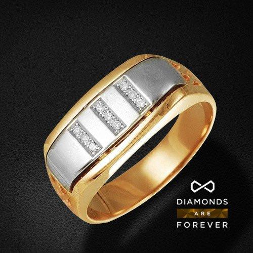 Мужское кольцо с бриллиантами из комбинированного золота 585 пробыДля мужчин<br>Мужское кольцо с бриллиантами из комбинированного золота 585 пробы. Характеристики вставок: бриллиант 57кр 9-0.111ct 5/5а. Средний вес изделия: 7,03 гр.<br>