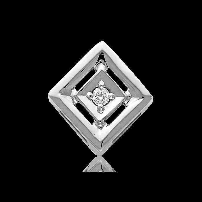 Подвеска бегунок с бриллиантами из белого золота 585 пробыКулоны<br>Подвеска с бриллиантами из белого золота 585 пробы. Характеристики вставок: 1 бриллиант кр57 4/5а 1.7-1.75 0,02. Средний вес изделия: 0,97 гр.<br>