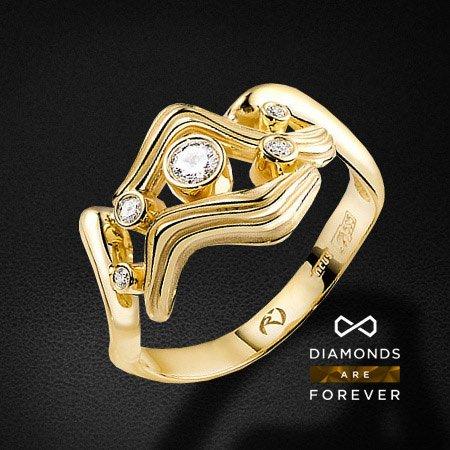 Кольцо с бриллиантами в желтом золоте 585 пробы (коллекция Стихии)Кольца<br>Кольцо с бриллиантами в желтом золоте 585 пробы. Характеристики: 5 бриллиантов 0.175. Средний вес: 4,21 гр.<br>