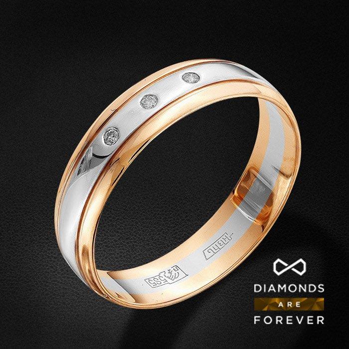 Обручальное кольцо с бриллиантами из красного золота 585 пробыКольца<br>Обручальное кольцо с бриллиантами из красного золота 585 пробы. Характеристики вставок: 3 бриллиант кр 57 4/5а 0.023ct.. Средний вес изделия: 3.12 гр.<br>
