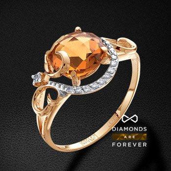 Кольцо с бриллиантами, цитрином из красного золота 585 пробыКольца<br>Кольцо с бриллиантами, цитрином из красного золота 585 пробы. Характеристики вставок: 1 цитрин круг бриолет 8.0 1.7ct., 10 бриллиант кр 57 400-200 3/5а 0.041ct., 1 бриллиант кр 57 90-60 3/5а 0.013ct.. Средний вес изделия: 2.25 гр.<br>