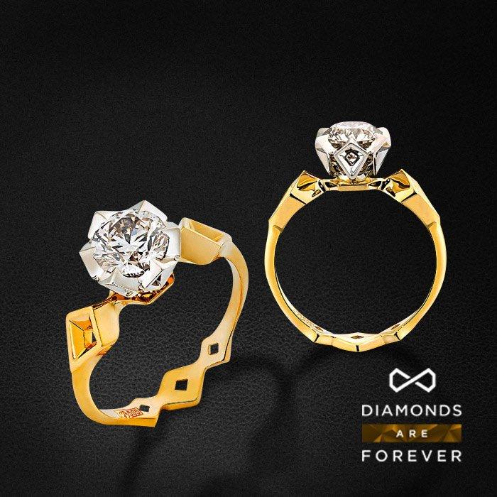 Кольцо с бриллиантами в комбинированном золоте 585 пробыКольца<br>Кольцо с бриллиантами в комбинированном золоте 585 пробы. Характеристики вставок: 1 бриллиант 1.255. Средний вес: 4,03 гр.<br>
