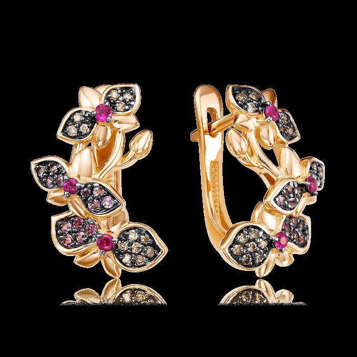 Купить Серьги с рубином, бриллиантами, аметистом, родолитом из красного золота 585 пробы