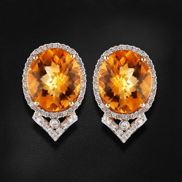 Купить Серьги с цитрином, бриллиантами из желтого золота 585 пробы