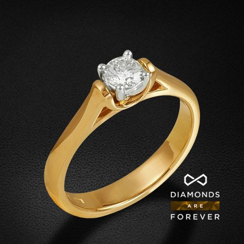 Кольцо с 1 бриллиантом из красного золота 585 пробыКольца<br>Кольцо с 1 бриллиантом из красного золота 585 пробы. Характеристики вставок: бриллиант 57кр 1-0.31ct 5/5а. Средний вес изделия: 4,22 гр.<br>