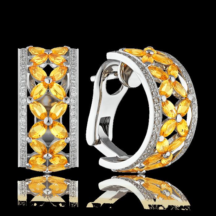Купить Кольцо с желтыми сапфирами и бриллиантами в белом золоте 585 пробы