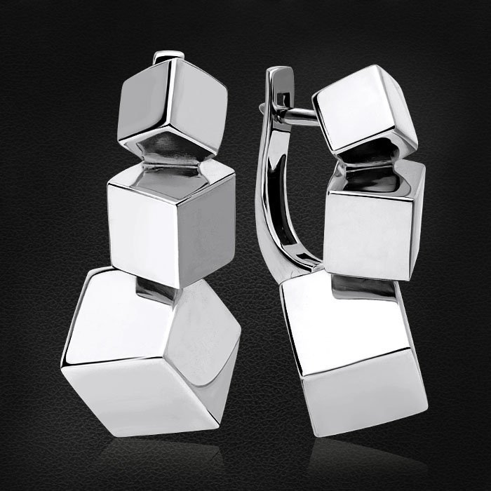 Геометрические серьги Cube из белого золота 585 пробыСерьги<br>Геометрические серьги Cube из белого золота 585 пробы. Средний вес изделия: 10,61 гр.<br>