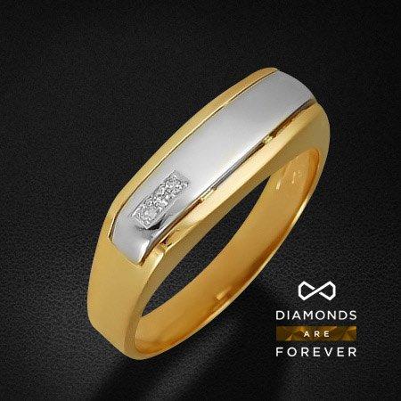 Мужское кольцо с бриллиантами из комбинированного золота 585 пробыДля мужчин<br>Мужское кольцо с бриллиантами из комбинированного золота 585 пробы. Характеристики вставок: бриллиант 57кр 3-0.021ct 3/5а. Средний вес изделия: 5,09 гр.<br>