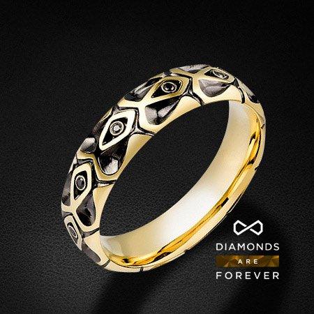 Мужское кольцо золотое с 11 черными бриллиантамиДля мужчин<br>Мужское кольцо золотое с 11 черными бриллиантами. Характеристики вставок: 11 черных бриллиантов 0.065 карат. Средний вес: 7,83 гр.<br>