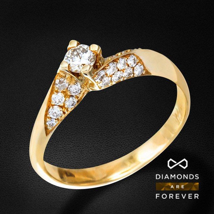 Кольцо с бриллиантами из желтого золота 585 пробыКольца<br>Кольцо с бриллиантами из желтого золота 585 пробы. Характеристики вставок: 28 бриллиант кр57 0.26 3/4 а, 1 бриллиант кр57 0.14 4/4 а. Средний вес изделия: 2,4 гр.<br>