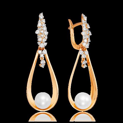 Купить Серьги с жемчугом, бриллиантами из комбинированного золота 585 пробы
