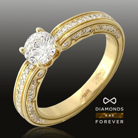 Кольцо с бриллиантами из желтого золота 750 пробыКоллекционные изделия<br>Кольцо с бриллиантами из желтого золота 750 пробы. Характеристики вставок: бриллиант 1/5 16шт.,0.1ct ; бриллиант 2/5 34шт.,0.16ct ; бриллиант 2/5 36шт.,0.13ct ; бриллиант 5/6 1шт.,0.72ct. Средний вес изделия: 6,21 гр.<br>