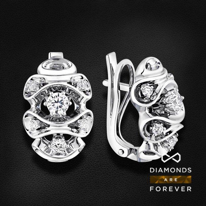 Серьги с бриллиантами в белом золотеСерьги с бриллиантами<br>Серьги с бриллиантами в белом золоте 585 пробы. Характеристики: 12 бриллиант 0.845. Средний вес: 8.28 гр.<br>
