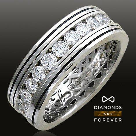 Обручальное кольцо с бриллиантами, эмалью из белого золота 750 пробыДля мужчин<br>Обручальное кольцо с бриллиантами, эмалью из белого золота 750 пробы. Характеристики вставок: бриллиант 2/5 25шт.,2.7ct ; эмаль  1шт.,0ct. Средний вес изделия: 10,71 гр.<br>