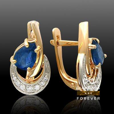 Серьги с сапфиром, бриллиантами из комбинированного золота 585 пробыЮвелирные украшения<br>Серьги с сапфиром, бриллиантами из комбинированного золота 585 пробы. Характеристики вставок: бриллиант кр-57 4/5 2шт.,0.02ct ; бриллиант кр-57 4/5 4шт.,0.03ct ; бриллиант кр-57 4/5 8шт.,0.04ct ; сапфир груша 4/3 2шт.,1.01ct. Средний вес изделия: 4,14 гр.<br>