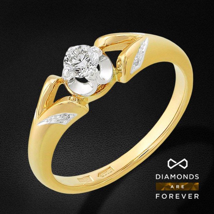 Кольцо для помолвки с бриллиантами в желтом золоте 585 пробыОсновной раздел каталога<br>Кольцо для помолвки с бриллиантами в желтом золоте 585 пробы. Характеристики вставок: 1 бриллиант 0.107 3/5А, 4 бриллианта 0.017 5/5А. Средний вес: 1.89 гр.<br>