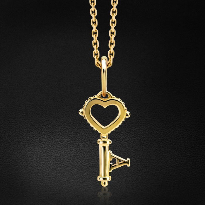 Кулон в виде ключика из желтого золота 585 пробыКулоны<br>Изящный, легкий, очаровательный ключик из желтого золота. Его можно носить отдельно или сочетать подвеской в виде сердца. Средний вес: 1,24 гр.<br>