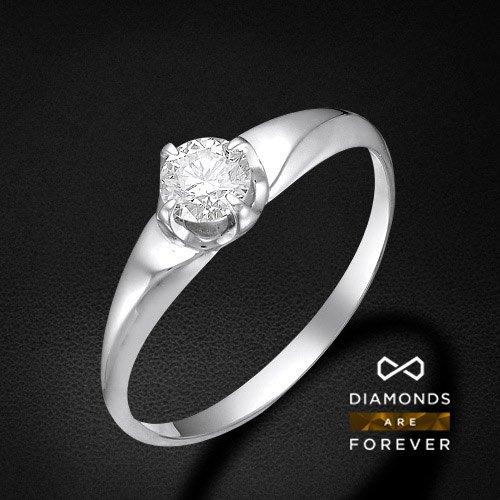 Кольцо с 1 бриллиантом из белого золота 585 пробыКольца<br>Кольцо с 1 бриллиантом из белого золота 585 пробы. Характеристики вставок: бриллиант 1 0.3 3/5 круг. Средний вес изделия: 1,4 гр.<br>
