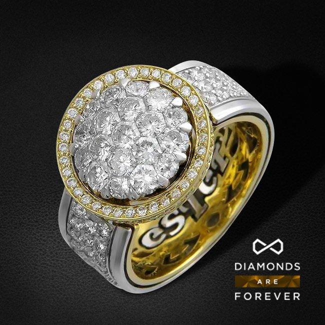 Кольцо с бриллиантами Подарок солнца из комбинированного золота 750 пробыКольца<br>Кольцо из комбинированного золота 750 пробы, украшенное 206 бриллиантами общим весом 3.05 карат<br>