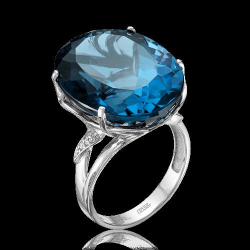 Купить Кольцо с лондон топазом, бриллиантами из белого золота 585 пробы
