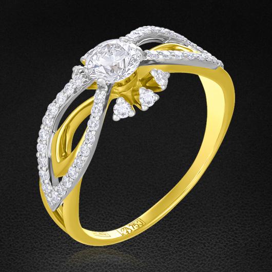 Кольцо с бриллиантами из желтого золота 750 пробыКольца<br>Кольцо с бриллиантами из желтого золота 750 пробы. Характеристики вставок: 1 бриллиант круглой огранки (57 граней) 0,46 4/4а; 48 бриллиант круглой огранки (57 граней) 0,376 2/3а.<br>
