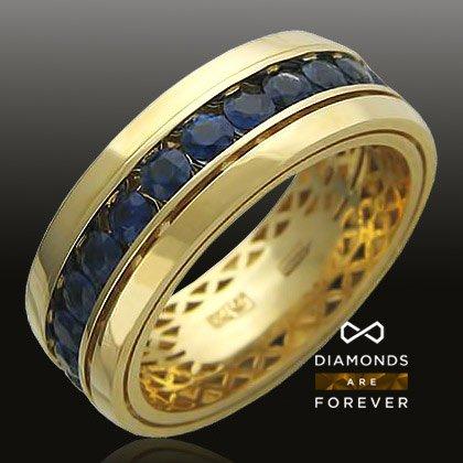 16bc2e732b3b Купить Обручальное кольцо с сапфиром из желтого золота 750 пробы по ...