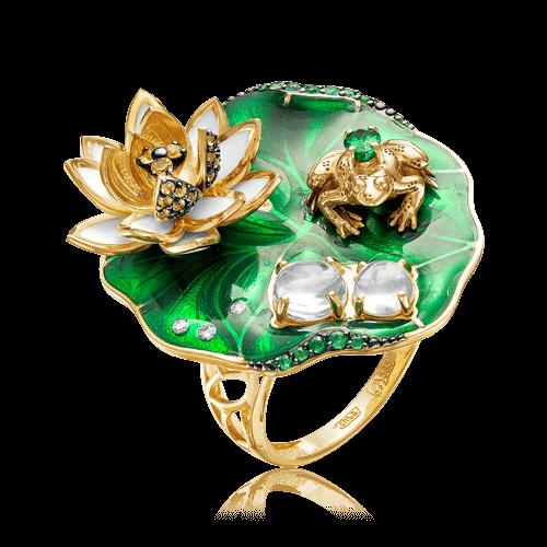 Купить Кольцо с сапфиром, бриллиантами, изумрудом, эмалью, аквамарином из желтого золота 585 пробы