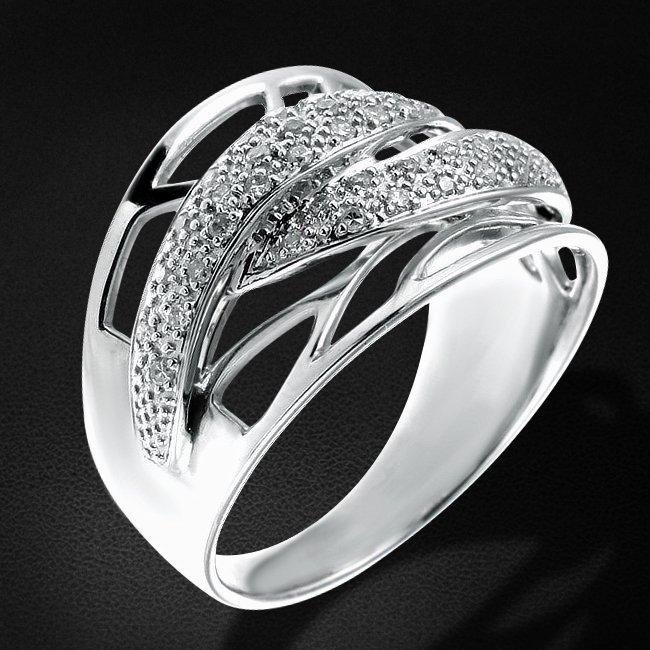 Кольцо с бриллиантами из белого золота 585 пробыКольца<br>Кольцо с бриллиантами из белого золота 585 пробы. Характеристики вставок: 47 бриллиант кр17 - 0.22 2/4. Средний вес изделия: 4,98 гр.<br>